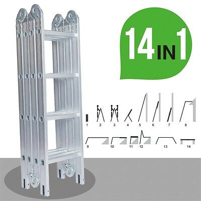 12.5FT Aluminum Multi Purpose Folding Step Ladder Scaffold Extension 2 Platforms