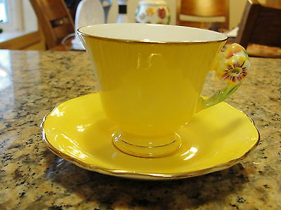 Yellow Royal Winton Petunia Demi-Tasse Cup and Saucer