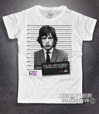 T-shirt donna Mick Jagger foto segnaletica celebrities mugshot stile Happiness