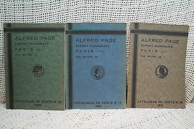 lot 3 rare old coin catalogue Alfred Page Paris ancient greek roman  world