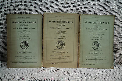 lot 3 rare Original antique old coin books THE NUMISMATIC CHRONICLE AND JOURNAL