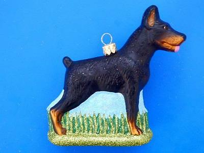Lrg Dauberman Pinscher Dog European Blown Glass Christmas Tree Ornament Hunde