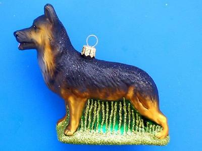 Lg German Shepherd Dog European Blown Glass Christmas Tree Ornament Hunde