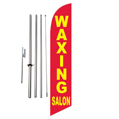 Waxing Salon Hair Advertising Feather Banner Swooper Flag Kit +spike