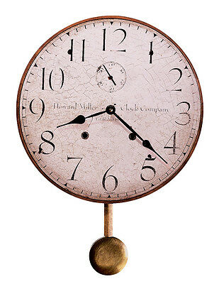 Howard Miller Antique Dial Wall Clock 13' With Pendulum 620-313