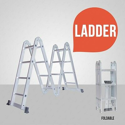 11FT Aluminum Multi Purpose Folding Step Ladder Scaffold Extendable Heavy Duty