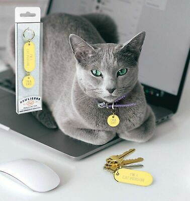 KEYCHAIN AND PET TAG SET - CAT PERSON - By Fred **NEW**