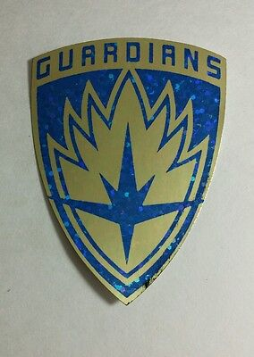 The Guardians Of The Galaxy Shield Gold Blue Metallic Movie Sticker