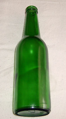 """Green Glass bottle with 'A' embossed on bottom -- 8 3/4"""" tall"""