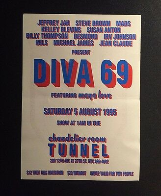 Rare Vintage 90s NYC Club Flyer: DIVA 69 @ TUNNEL NYC