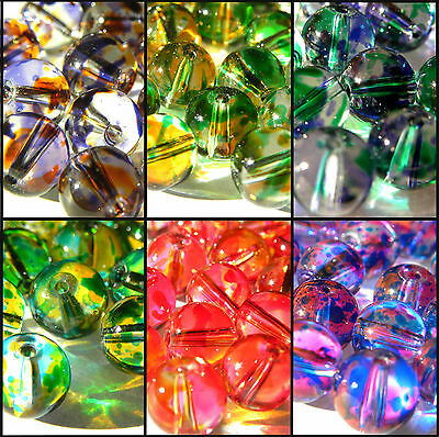 50 8mm Clear Glass Assorted Transparent Colour Pattern MORE BEADS IN MY SHOP