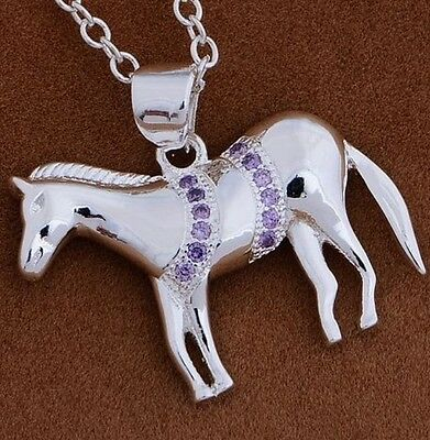 925 STERLING SILVER CLASSIC HORSE PENDANT NECKLACE CHAIN SWAROVSKI  CRYSTAL Gift
