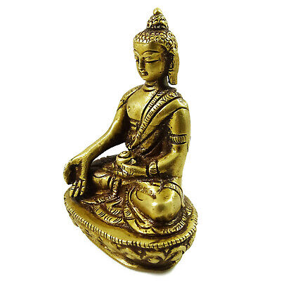 Indian Antique Buddha Statue Golden Sculpture Home Decor Metal Figurine Decor