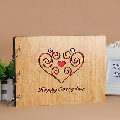 DIY 30Page 27.3x19.8cm Be Wood Cover 3 Rings Photo Album Scrapbook HAPPYEVERYDAY