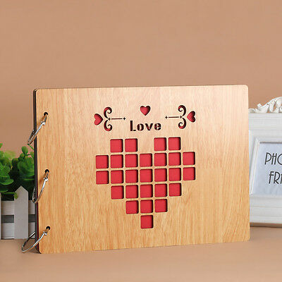 DIY 30Pages 27.3 x 19.8cm Beige Wood Cover 3 Rings Photo Album Scrapbook LOVE