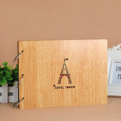 DIY 30Page 27.3x19.8cm Beige Wood Cover 3 Rings Photo Album Scrapbook PARISTOWER