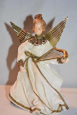 "VINTAGE GERMAN-BIEDERMANN 10"" CHRISTMAS ANGEL w/WAX HEAD ""CHRISTINA ANGELS"" HARP"