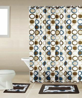 Curtains Ideas brown shower curtain rings : New 15Pc Blue Design Bathroom Bath Mats Set Rug Carpet Shower ...
