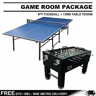 Game Room Package 5Ft Foosball + 13Mm Table Tennis Table Table Free Metro Post*