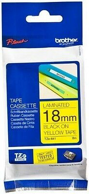 Brother Gloss Laminated Labelling Tape - 18mm, Black/Yellow NUOVO