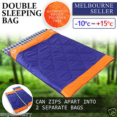 -10°~ +15° Double Outdoor Camping Twin Sleeping Bag Mat Tent Spring Hiking