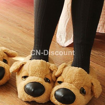Fashion Couple Slippers Cute Dog Women Men Indoor House Home Soft Warm Shoes