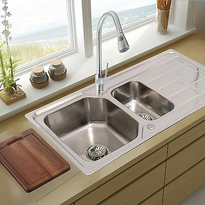 Double 1.5 Bowl Stainless Steel Kitchen Sink & Drainer Plumbing & Waste Kit Set