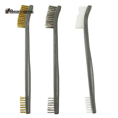 3X Gun Rifle Cleaning Tool Set Kit With Brass Brush Double Ended Wire Brush Tool