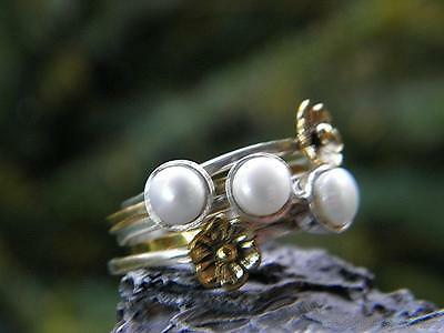 White Pearl, Two Tone, 5 rings,  925 SOLID Silver RING (Size 7, N 1/2)  #94285