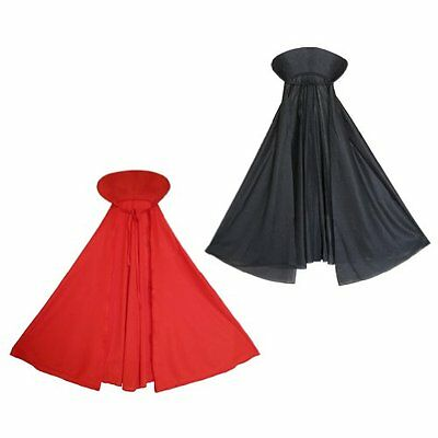 Kids Black Red Cape Cloak Robe Halloween Vampire Witch Wizard Fancy Costume