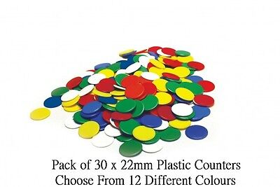 30 x 22mm Plastic Tiddly Token Reward Numeracy Board Games Counters - 12 Colours