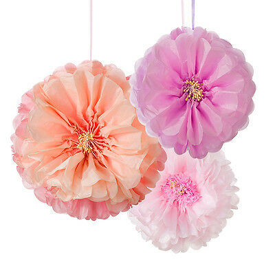 3 x Large Paper Pastel Flower Fluffy Hanging Party decorations Blush Peach Pink
