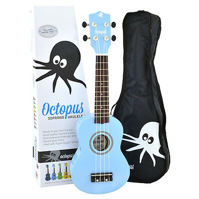 New 2015 Octopus Soprano Ukulele Surf Blue