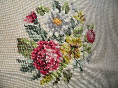 Vintage Needlepoint Flowers/roses Pillow Cover