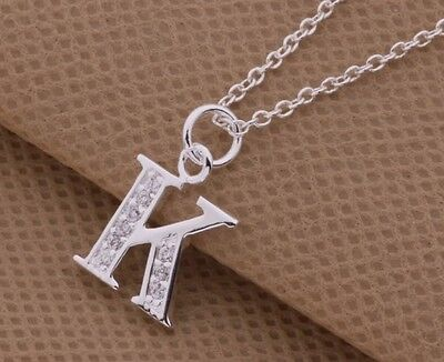 925 Sterling Silver LETTER K Austrian Crystal Pendant Charm Necklace Chain Gift