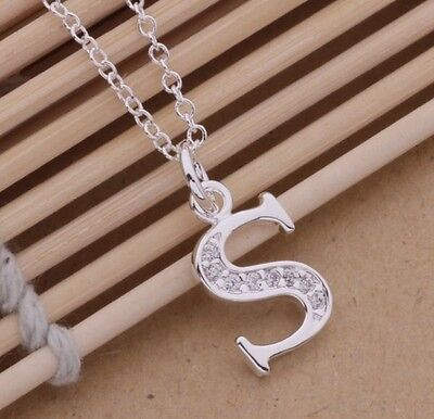 925 Sterling Silver LETTER S Swarovski Crystal Pendant Charm Necklace Chain Gift