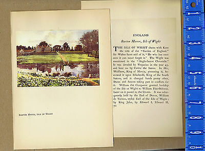 ENGLAND: Barton Manor, Isle of Wight -- Vintage 1916 Lithograph