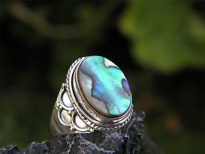 Abalone and 925 SOLID Sterling Silver RING (Size 6 1/2, M 1/2)