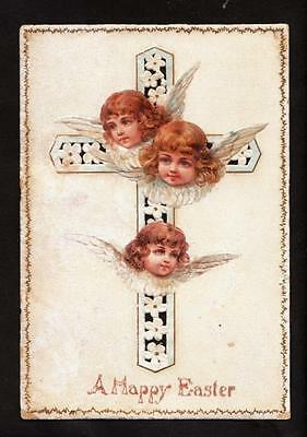 c.1890 children angel faces cross victorian easter card