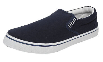 Mens Boys Canvas Boat Yachting Deck Shoes Slip On Pumps DEK Blue Size 4-13