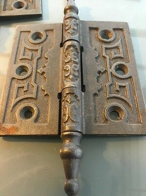"ANTIQUE CAST IRON DOOR HINGE 3 1/2"" Old Steeple Tip Victorian Vintage *ORNATE*"