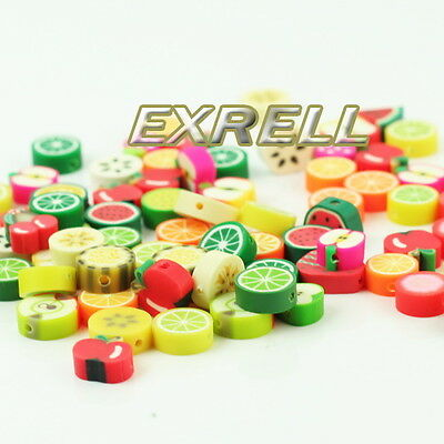 New 100 Mixed Colour Polymer Fimo Clay Fruits  Spacer Beads 10X10mm 6x9mm