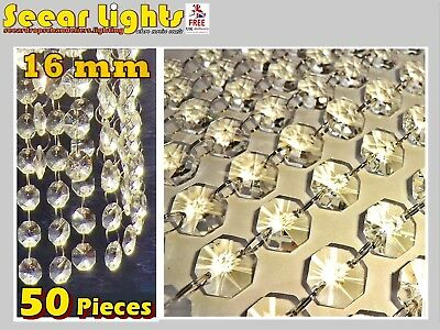 50 Chandelier Light Crystals Droplets Glass Beads Wedding Drops 16Mm Prism Parts