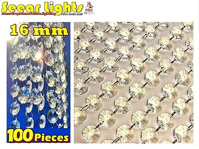 100 Chandelier Light Crystals 16Mm Droplets Cut Glass Beads Wedding Drops Parts