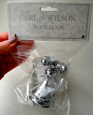 New EARL & WILSON Robe Wall Hook Chrome & White Bathroom Faucet Look Mounted #BK