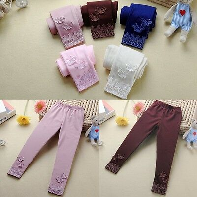 Girl Kids Warm Lace Butterfly Leggings Solid Color Pants Toddler Trousers S52