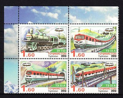 Tajikistan 2013 Trains Block 4 MNH