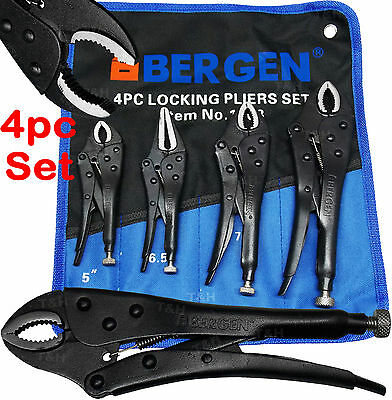 BERGEN Locking Pliers 4pc Mole Grips Adjustable Wrench Vice Grips Pliers Long No