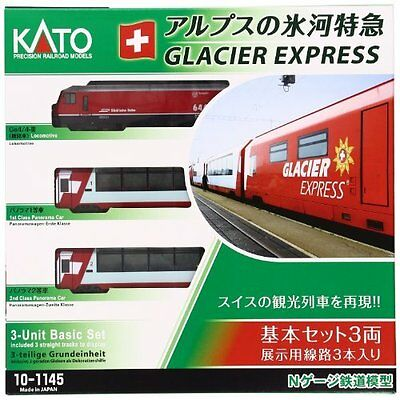 KATO 10-1145 Rhaetian Railway Alps Glacier Express Basic 3-Car Set N Scale.