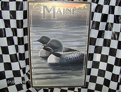 "Maine Loons 10.5"" x 7"" Wood Sign"